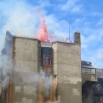 flames and smoke - library building