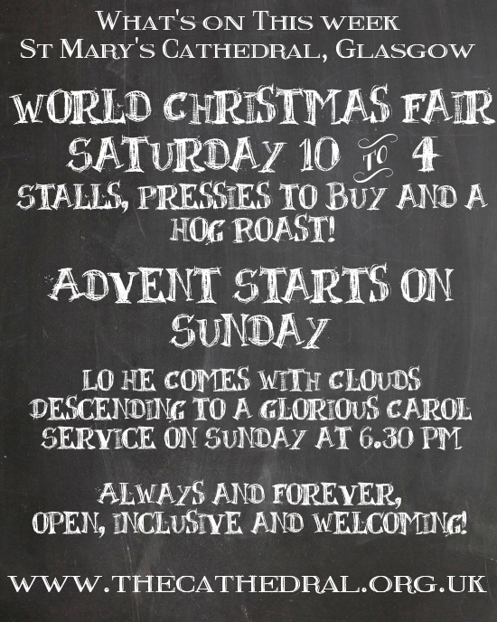 World Christmas Fair on Saturday, Carol Service on Sunday