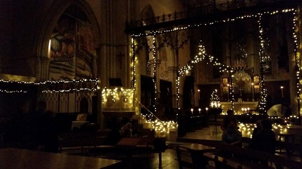 Illuminated cathedral at night