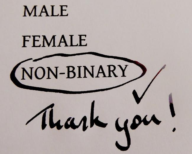 male, femals, non-binary form